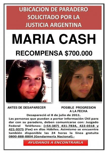 María Cash | Desapareció el 8 de julio de 2011.