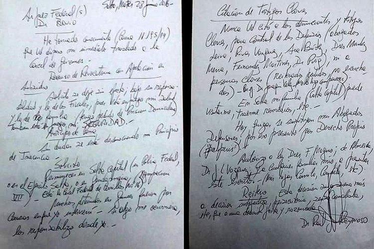 La carta que le escribió Raúl Reynoso al juez Bavio.
