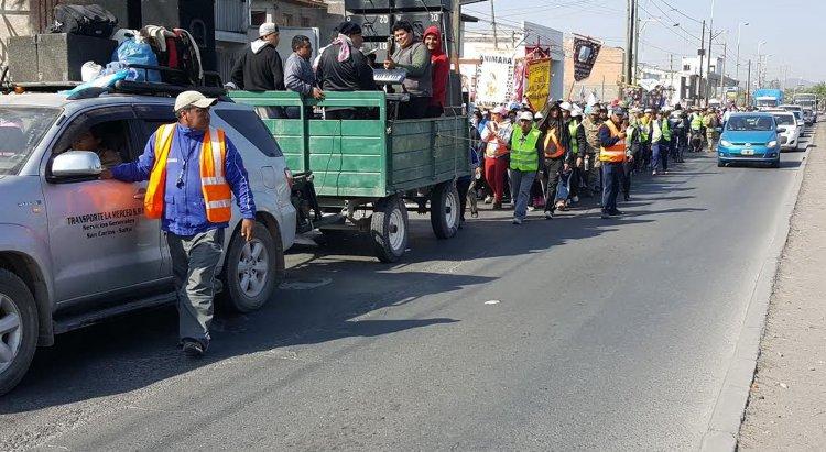 La columna llegada desde los Valles Calchaquíes llegaban a los 1000 peregrinos.