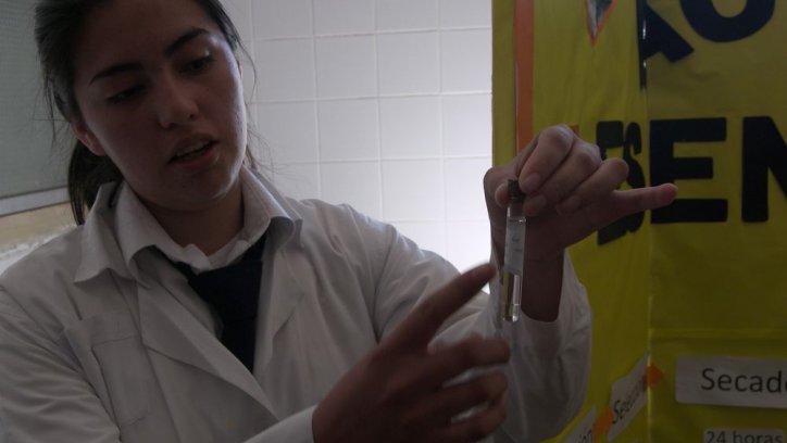 Una alumna muestra un ensayo de laboratorio para nuevos proyectos.