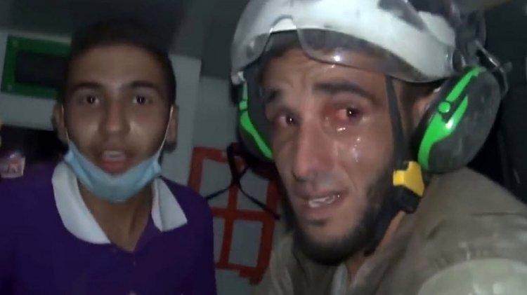 Abu Kifah con lágrimas en sus ojos. Es rescatista de los Cascos Blancos en Siria.