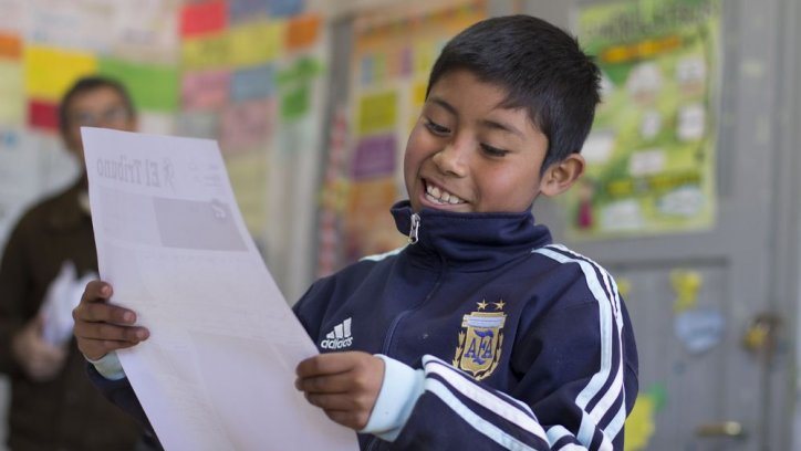 Los chicos plasmaron sus sueños en una portada del diario. Javier Corbalán