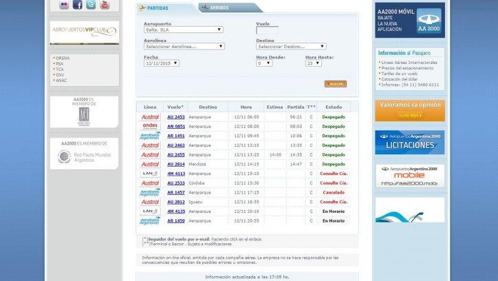 Captura de pantalla de la página de Aeropuertos Argentina 2000