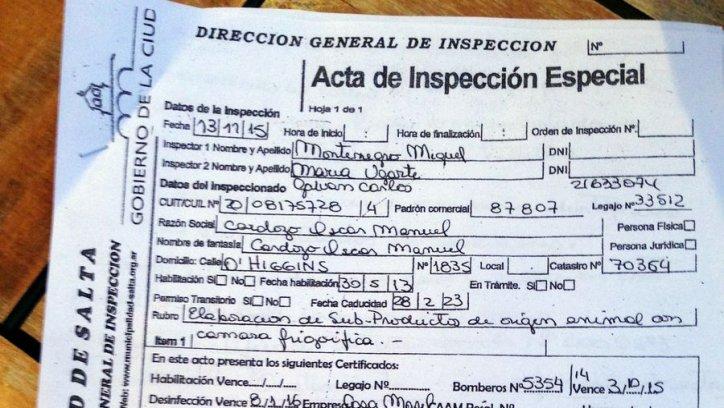 Actas de inspección de Control Comercial de sandwichería La Esquina.