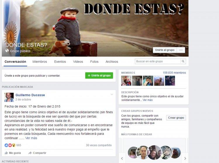 La página de Facebook creada por un cordobés la cual busca gente.