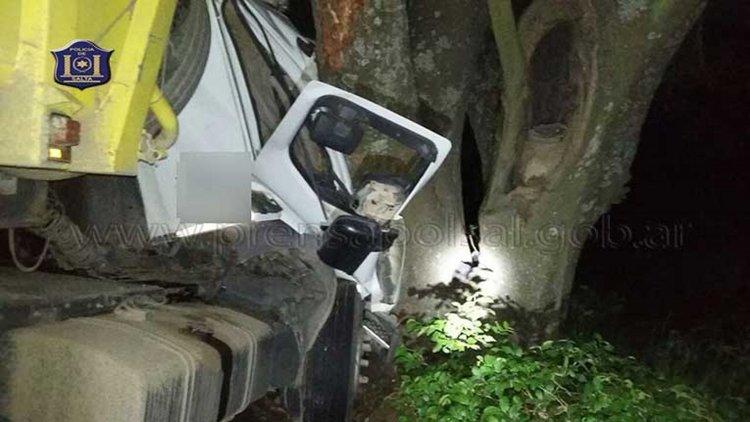 El chofer de un camión realizó una mala maniobra y terminó chocando contra un árbol en Metán.