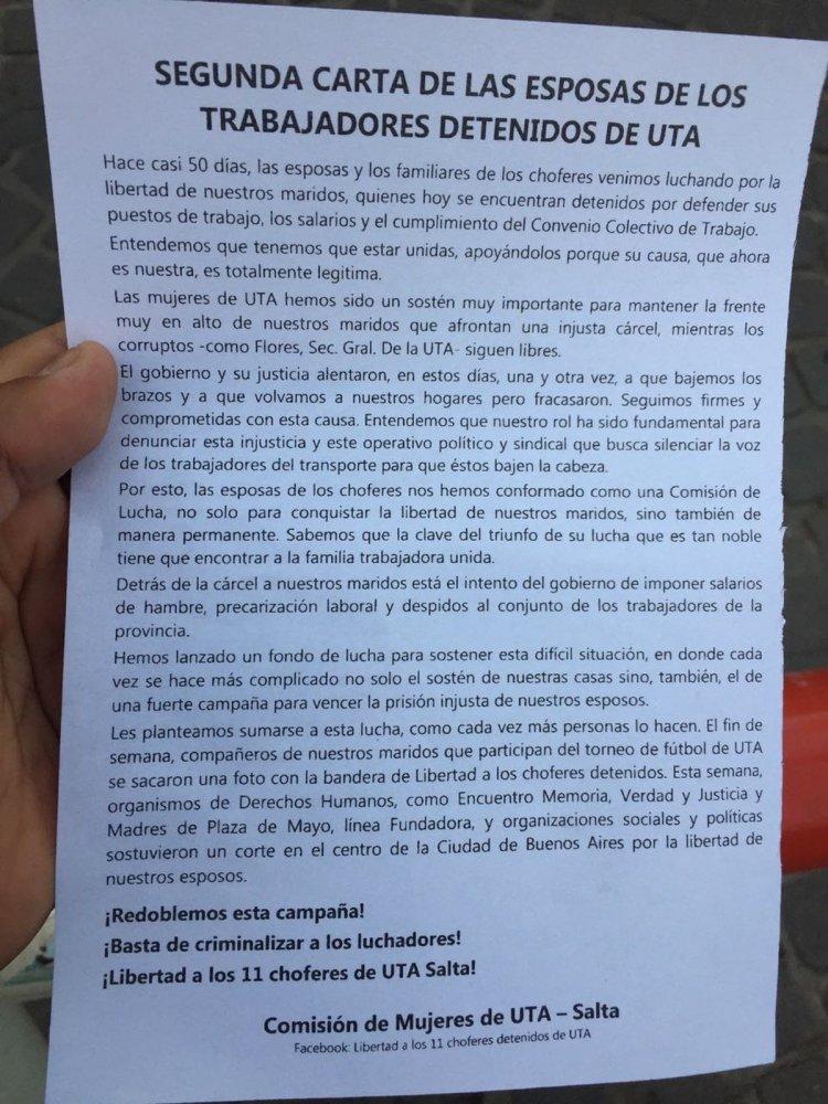Carta que difundieron las esposas de los choferes detenidos durante la marcha.