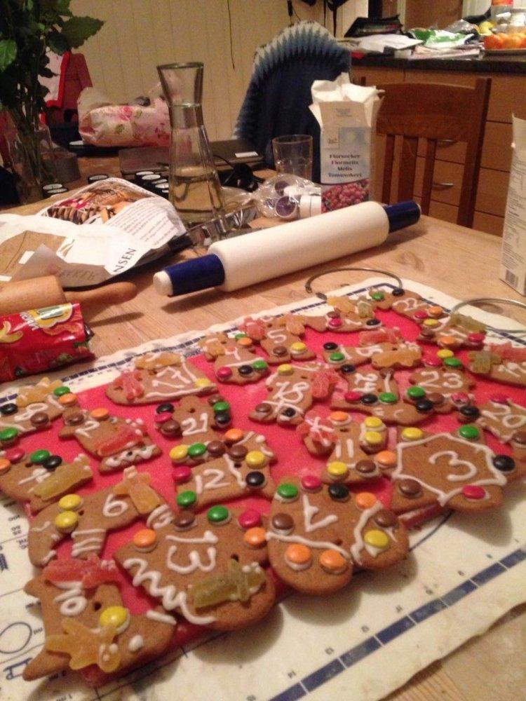 Pan de jengibre, típico de Navidad en Asker, Noruega. Se lo usa como un calendario de Adviento para contar los días hasta Nochebuena. Foto: Gentileza Aurora Groendalen
