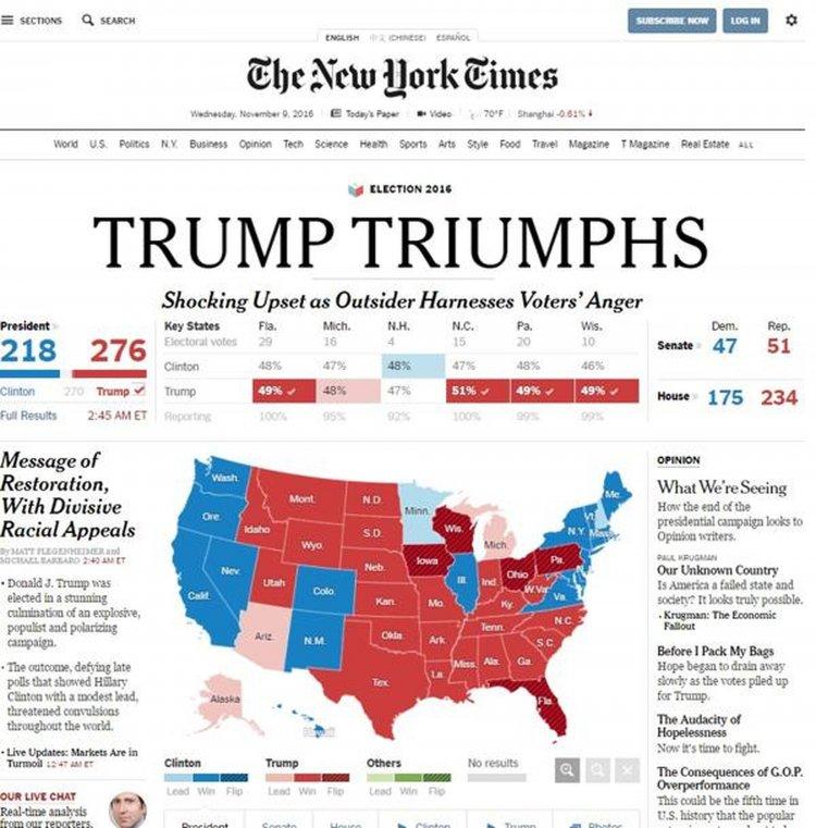 El New York Times, eligió el mismo título: Trump triunfa, pero agrega en su bajada: