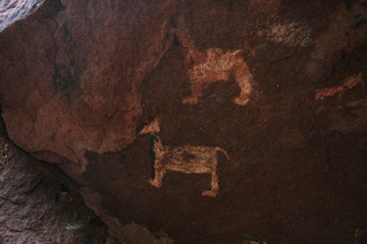 Una de las pinturas rupestres de la quebrada de Ablomé. Foto: Javier Corbalán